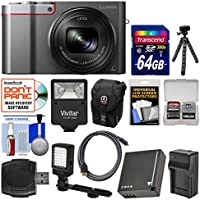 Panasonic Lumix DMC-ZS100 4K Wi-Fi Digital Camera (Silver) with 64GB Card + Battery & Charger + Case + Flash + LED Light & Bracket + Flex Tripod Kit