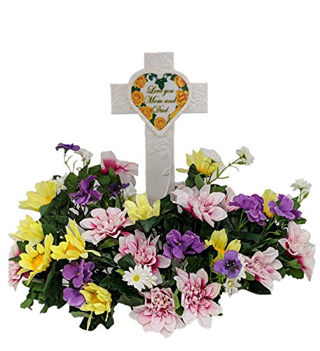 (Fire Glo Solar Powered Glow in The Dark Memorial Cross with Flower Bouquette-Graveyard/Cemetary Decorations (Mom and Dad Style 2) )