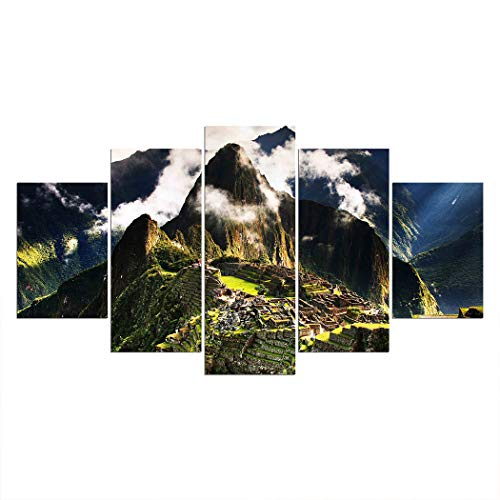 (SpringFlower Wall Sticker Machu Picchu Peru Premium Art Print Decoration Poster Design Modern Nature Landscape Wall Mural Customized Product for Living Room, Wall Art Adhesive Material (A style))