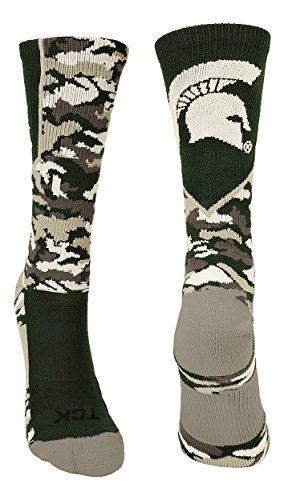 Michigan State Spartans Camo Crew Socks (Dark Green/Grey/White, Small)