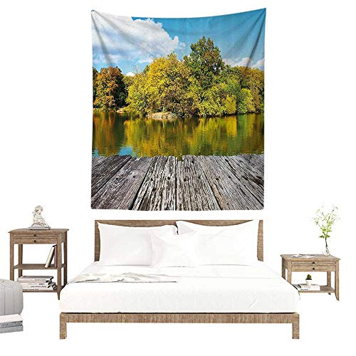 (Wall Tapestries Hippie,Landscape,New York City Central Park in a Autumn Day Near a Bay with River,Sky Blue Green and Cocoa W51 x L60 inch Tapestry Wallpaper Home Decor)