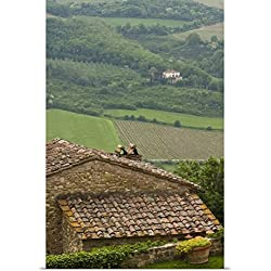 Brenda Tharp Poster Print entitled Italy, Tuscany, Chianti region, Lush fields and vineyards, picturesque stone houses