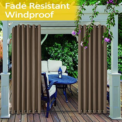 cololeaf Outdoor Extra Wide Curtain for Patio Waterproof with Rustproof Grommet at Top and Bottom Curtain Fade Resistant for Outdoor Indoor Privacy Curtain – Chocolate 150W x 102L Inch 1 Panel