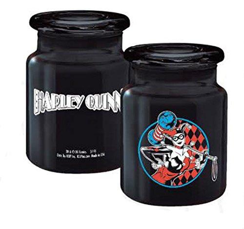 DC Comics (Batman) Harley Quinn Checker Badge Logo Apothecary 6 Oz. Glass Jars (with Gift box)