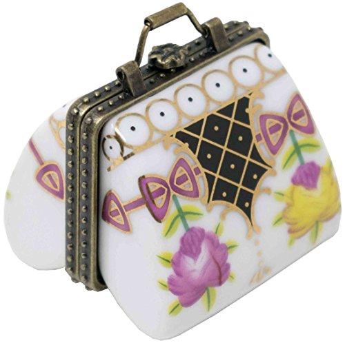 White Purse Porcelain Pocket Portable Pill Box (1 Large Compartment)