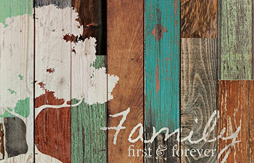 Family Room Kitchen - P. GRAHAM DUNN Family First & Forever Multicolor Tree Rustic 16 x 24 Wood Pallet Design Wall Art Sign
