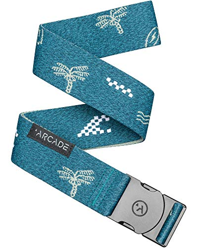 Arcade Belt Mens Adventure Ranger Belts: Heavy Duty Elastic Webbing, Non-Metal Travel Friendly Buckle, Heather Fog Blue/Multi