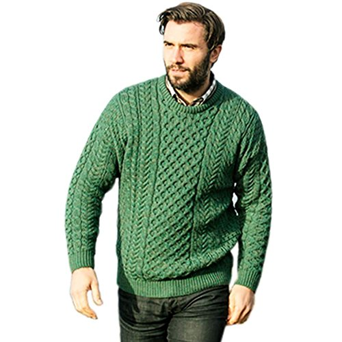 Mens Aran Sweater, Made in Ireland, 100% Real Irish Wool, Fisherman Style, Green, XXL (Cardigan Sweater Irish Fisherman)