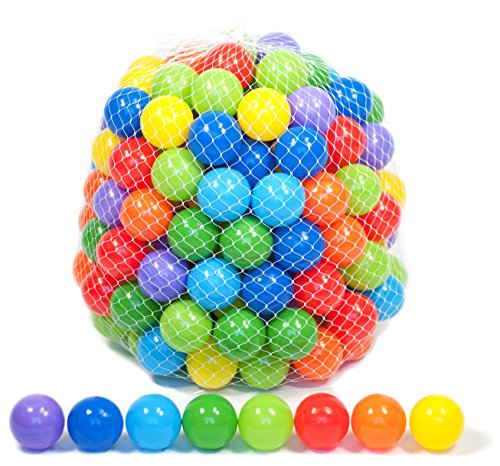 EWONDERWORLD 200 Count Non-Toxic BPA & Phthalate Free Crush Proof Plastic Play Balls with 8 Vibrant Colors and Durable Net Bag - Pit Balls for Kids & Toddlers, Playpen Balls, Play Balls for Kids Tent]()