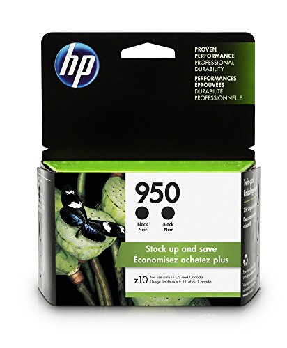 HP 950 Black Ink Cartridge - 2 Ink Cartridges (CN049AN) for HP Officejet Pro 251 - 276 - 8100 - 8600 - 8610 - 8620 - 8625 - 8630