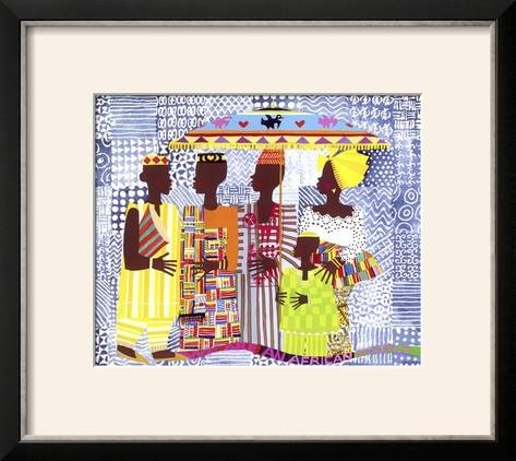 Honeywood Finish (ArtEdge We are African People by Varnette Honeywood, Size 18W x 16H, Frame is Wood with a Gesso finish)