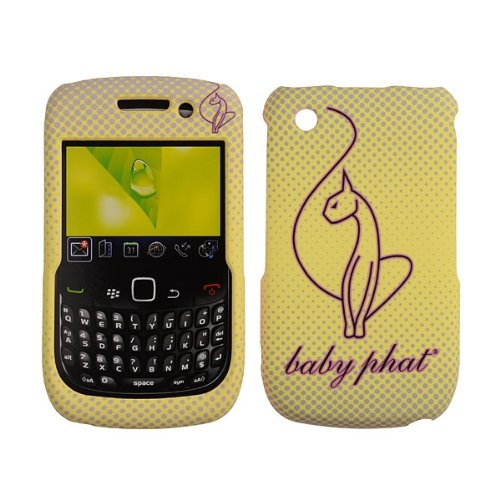 Blackberry Curve, 8520, 8530, 9300 Case Baby Phat Brand Cover Snap On Faceplate Shield Cell-Tronics BABY PHAT YELLOW CAT (Yellow Blackberry Faceplates)