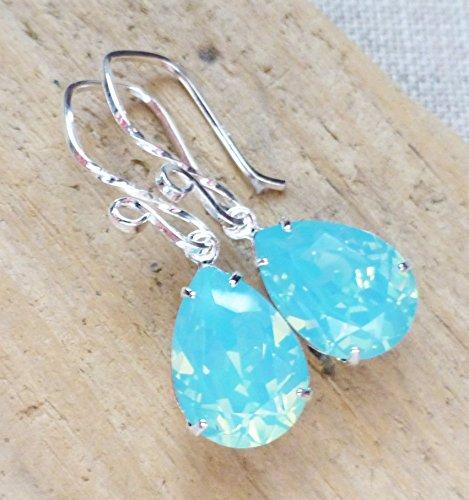 Seafoam Aqua Blue Opal Crystal Earrings, Swarovski Rhinestone Pear Teardrops, Sterling Silver