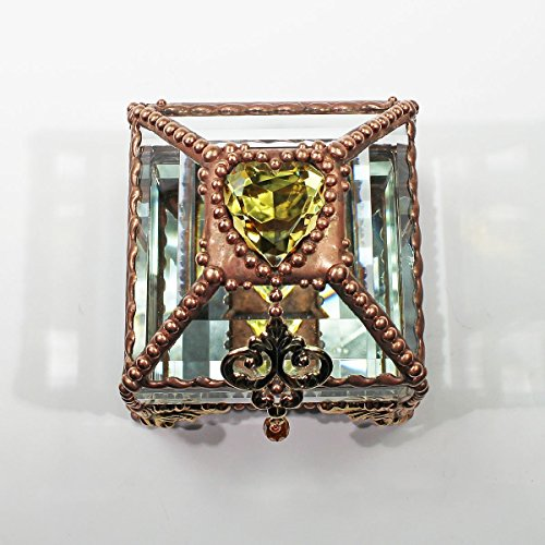 Heart Box, Stained Glass Box, Wedding Ring Box, Engagement Ring Box, Birthstone by Glass Treasure Box