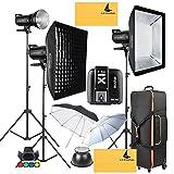 GODOX SK300II 900W 2.4G Photography Flash Studio Strobe Kit Three 300w Sk300II Monolight Lighting,Includes 3X 300W SK300II Strobe Light+3X Light Stand+2X60X90CM Soft Box+GODOX X1T-S for Sony Cameras