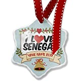 NEONBLOND Add Your Own Custom Name, I Love Senegal Christmas Ornament