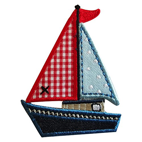 2 Patches Blue White Red Lighthouse 4X9Cm Yacht 8X6 Cm Patch Jeans Star Apparel Garment Mending Baby Kids Gift Appliqué Decoration Sewing Craft Kit Mend Patch Patch Patch Decoration Patch To Iron Clo (Lighthouse Applique)