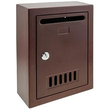 PrimeMatik - Buzón de plástico para Cartas y Correo Postal de Color Granate 205x80x273mm