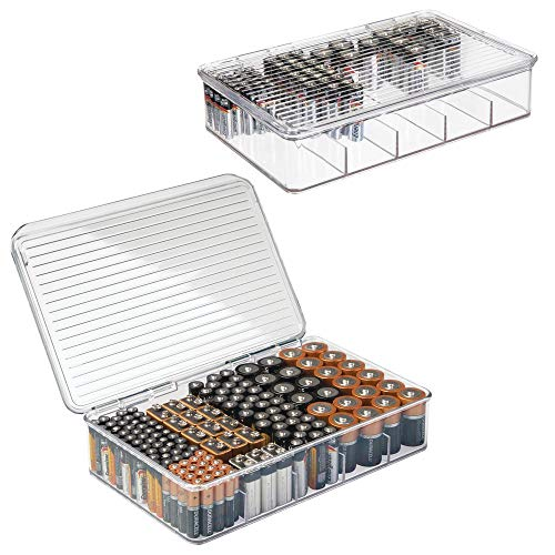 mDesign Plastic Stackable Divided Battery Storage Organizer Box Bin with Hinged Lid for AA, AAA, C, 9 Volt Sizes - Storage for Kitchens, Home Offices, Utility Rooms - 5 Compartments, 2 Pack - Clear
