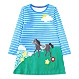 IsabelaKids Girls Cotton Long Sleeve Casual Cartoon Appliques Striped Jersey Dresses (18M, Horse)
