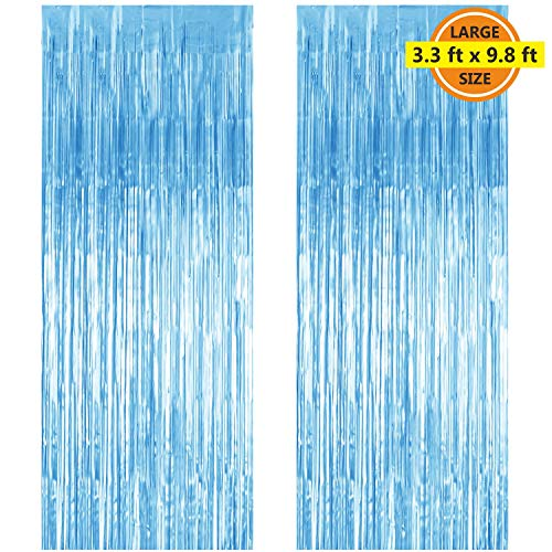 2 Pack 3.3 ft x 9.8 ft Foil Curtains Metallic Fringe Curtains Shimmer Curtain Photo Backdrop for Halloween Christmas Birthday Party Wedding Deco (Pale Blue) -