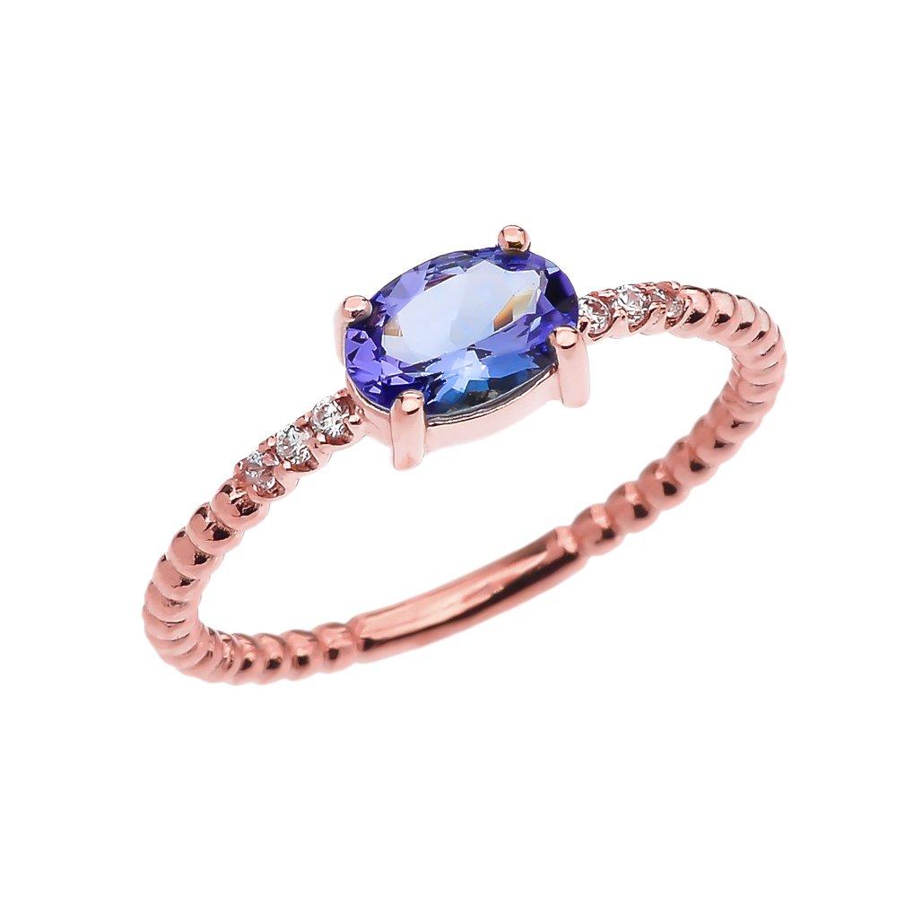 10 Kローズゴールド上品ダイヤモンドとオーバルタンザナイトビーズスタッカブル/プロミスリング B01MYMEJWZ 9.5