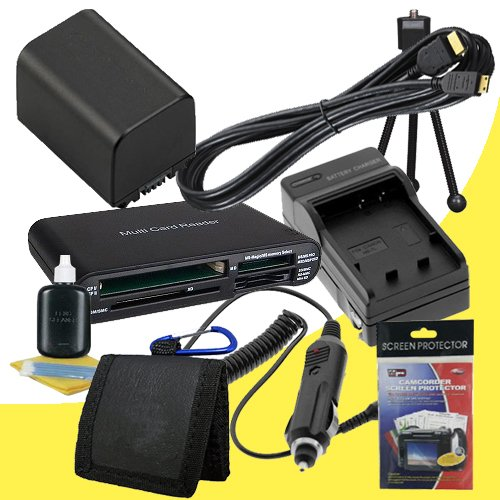 NP-FV100 Lithium Ion Replacement Battery w/Charger + Mini HDMI + Memory Card Reader/Wallet + Deluxe Starter Kit for Sony NEXVG10, NEXVG20 Interchangeable Lens HD Handycam Camcorder DavisMAX Accessory Bundle by DavisMAX