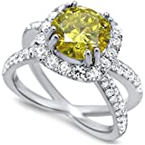 Fashion Women 925 Silver Citrine & White Sapphire Wedding Ring Bridal Size 7-9#by pimchanok shop (8, Yellow)