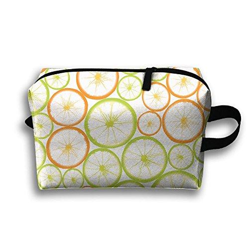 Fruit Slices Powerpoint Template Cosmetic Bags Makeup Organizer Bag Pouch Zipper Purse Handbag Clutch Bag