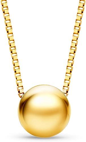 Orovi Collier Avec Pendentif Boule En Or Jaune 9 Carats 45 Cm Amazon Fr Bijoux