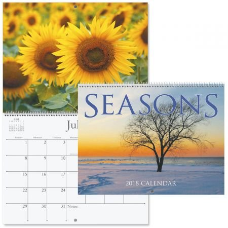 "2019 Seasons Wall Calendar - 12"" x 9"", bookstore quality, spiral bound free shipping"