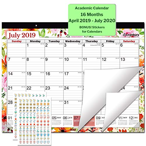 Blooms Two Page Monthly Calendar - Large Desk Calendar 2019-2020, 17.75 x 13.75 (Floral), Use Through July 2020, Large Academic Calendar 2019-2020, Bonus Stickers for Deskpad Calendars, for School, Office and Home