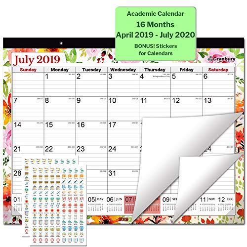 Large Desk Calendar 2019-2020, 17.75 x 13.75