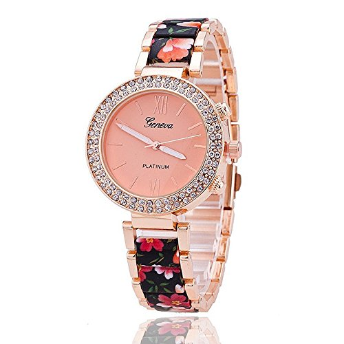 New Fashion Floral Bracelet Watch Garden Beauty Geneva Watch with Stainless Steel Band Quartz Wristwatch Watches ()