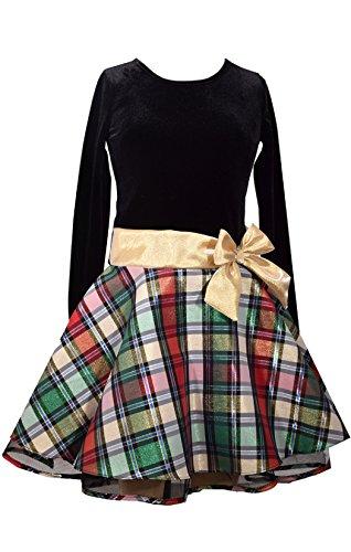 Velvet Holiday Dress (Bonnie Jean Stretch Velvet To Glitter Flock Drop Waist Holiday Girls Dress (12, Gold))