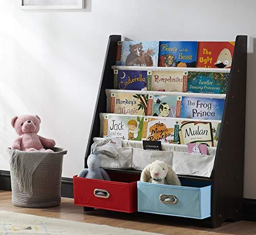 (SEIRIONE Kids Bookshelf, 4 Sling Book Display Stand, 2 Toys Storage Organizer Cube Bins, Espresso,1 Year Warranty)