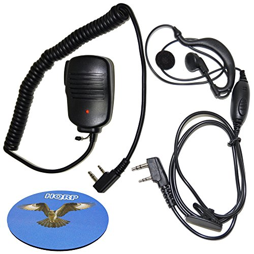 Speaker-Microphone and Earpiece Mic Headset for Kenwood TK-630 TK-715 TK-730 TK-830 TK-2400V4P TK-2400V16P TK-3400U4P TK-3400U16P TK-3230K TK-2402VK Radio + HQRP Coaster ()