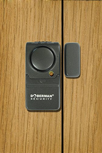 DOBERMAN SECURITY Door & Window Mini-Alarm - Compact Design Fits on All Doors and Windows - Powerful 100 dB Alarm OR Chime - Features Long Battery Life - Perfect for Home, Office, Dorm Room or Even RVs - Model SE-0129
