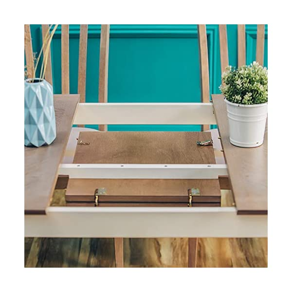 Furgle Rectangular Extending Dining Table-Large Oak Rubber Wood Kitchen Table with Folding Separate Extension Leaf for…