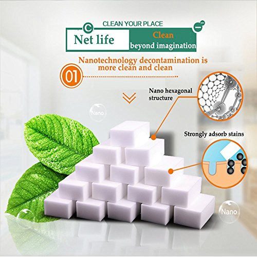 HL STORE Magic Eraser 100PCS Multi-Surface Cleaning Pads Extra Power Pro Thick Sponges Melamine Foam