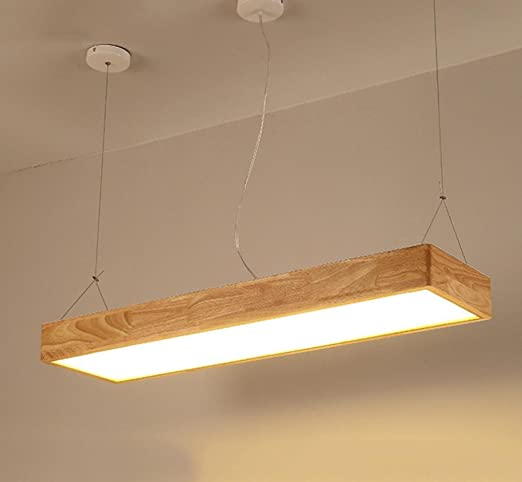 SOOYFS lámparas de techo de madera japonesa alargada barra de luz ...