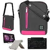 Adler 10.2 Premium Nylon Carrying Shoulder Bag Case For Nextbook 8, Premium 8HD, 8Hi, 7SE Tablet + Bluetooth Keyboard + Foldable Stand