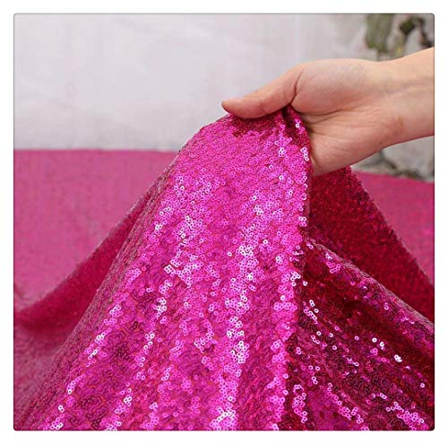 (QueenDream 4yards Sequin Table Runner Fuchsia Sequin Fabric Tablecloth Sheer Sequin Fabric for Wedding Birthday Party Eventing Decor)