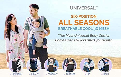 96e601bb6a8 Amazon.com   360 Ergonomic Baby Carrier - All Season Baby Sling - 6 ...