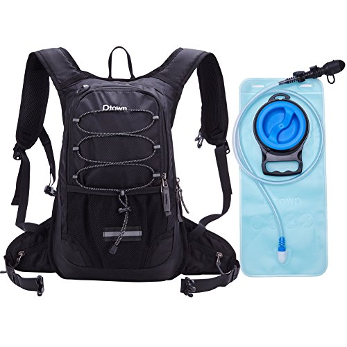Women Men Kids Insulated Airsoft Black Outdoor Hydration Backpack Pack with 2L Water Bladder Reservoir for Sport Marathon Hunting Running Hiking Cycling Bicycle Jogging Water-resistant