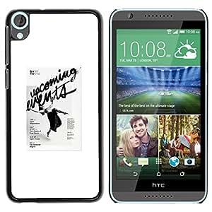 For HTC Desire 820 Case , Poster Vintage Retro Black - Diseño Patrón Teléfono Caso Cubierta Case Bumper Duro Protección Case Cover Funda