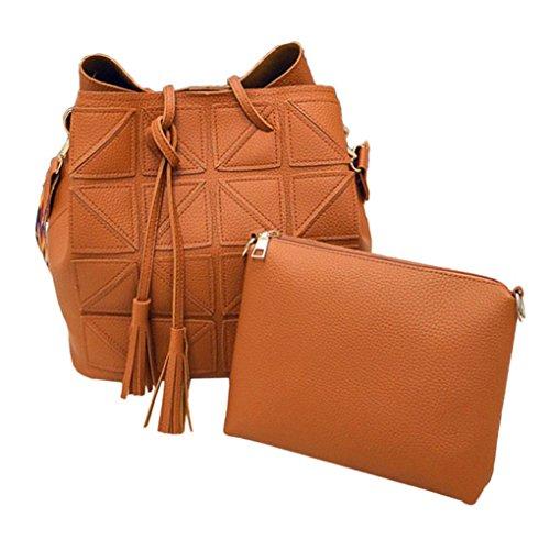 2 pièces/set femmes Tassel PU Sac à bandoulière en cuir de grande capacité colorée sac à main Sangle Sling Voyage Arichtop Marron