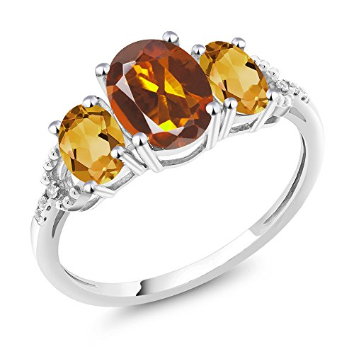 - 10K White Gold Diamond Accent Three-Stone Engagement Ring set with 1.95 Ct Orange Red Madeira Citrine Yellow Citrine (Size 9)