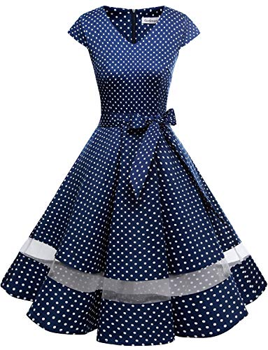 Gardenwed Women's 1950s Rockabilly Cocktail Party Dress Retro Vintage Swing Dress Cap-Sleeve V Neck Navy Small White Dot XS]()