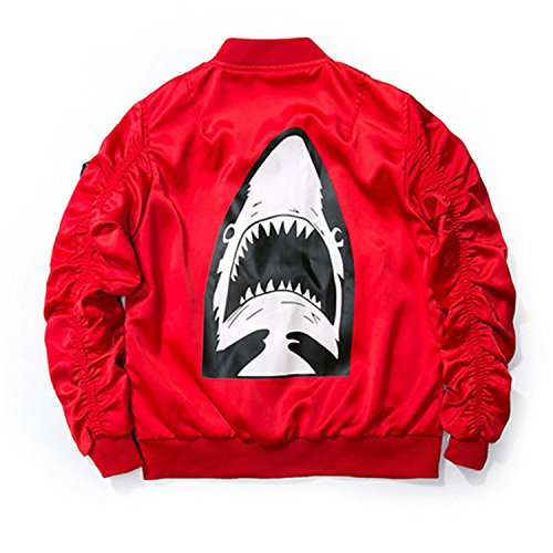 MRstriver Dropshipping New Spring Red Shark Bomber Jacket Men Streetwear Brand-Clothing